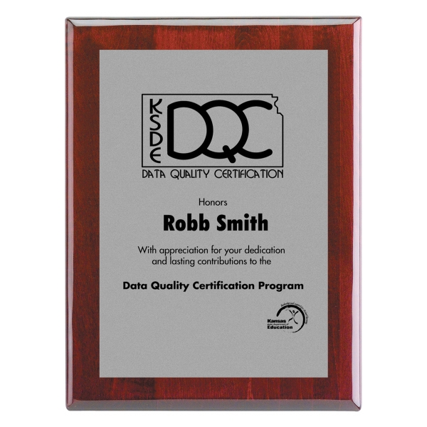 "Plaque-6""x8"" Piano Wood (R) Wall Plaque with Silver Plate"