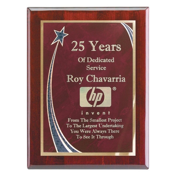 "7""x9"" Piano Wood (R) Wall Plaque with Red Rising Star Plate"