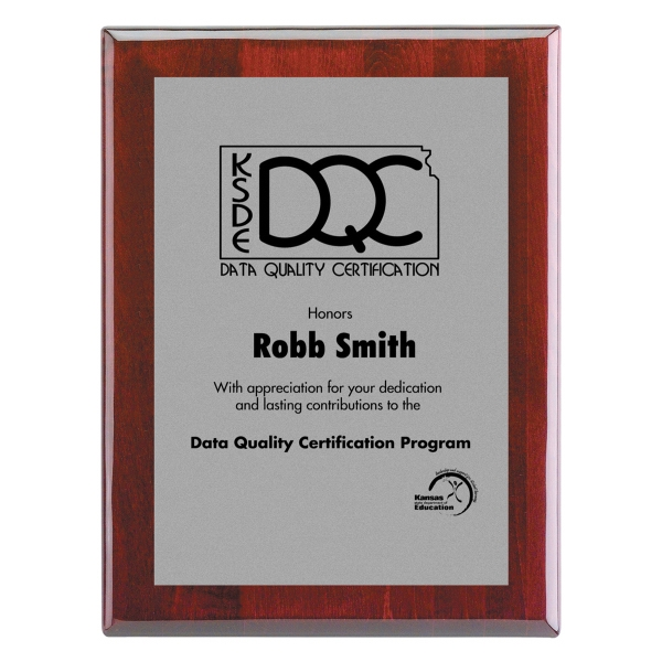 """10.5""""x13"""" Piano Wood (R) Wall Plaque with Silver Plate"""