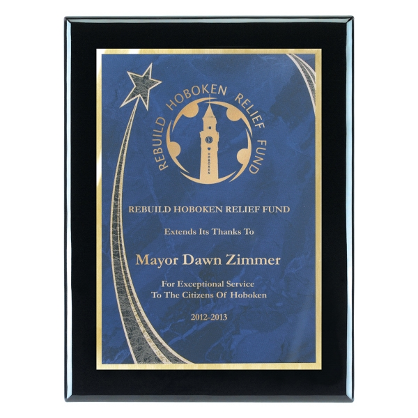 "7""x9"" Piano Wood (R) Wall Plaque with Blue Rising Star Plate"