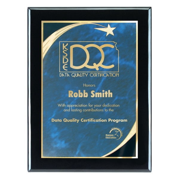 8x10 Piano Wood(R) Wall Plaque w/Blue Star Achievement Plate