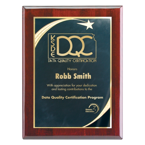 9x12 Piano Wood(R) Wall Plaque-Black Star Achievement Plate