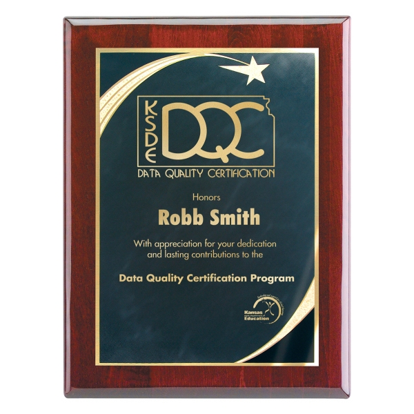 8x10 Piano Wood(R) Wall Plaque-Black Star Achievement Plate