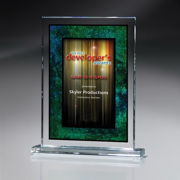 Optic Crystal Rectangle Award with Digi-Color - Medium