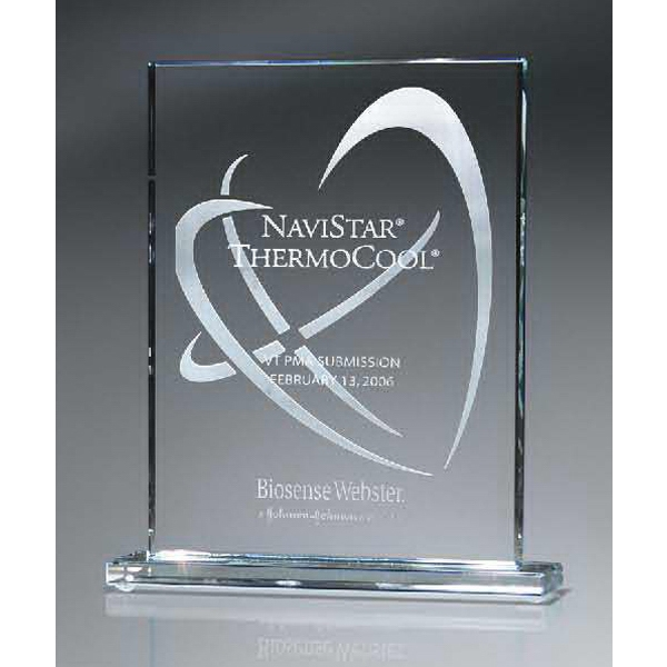 Optic Crystal Rectangle Award with Digi-Color - Large