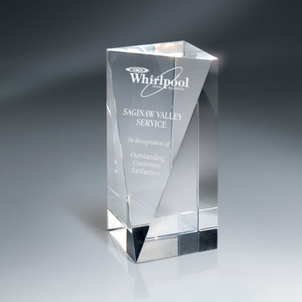 Optic Crystal Triangle Front Pillar Award - Medium