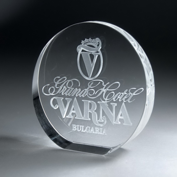 3D Etched Crystal Circle Award - Large