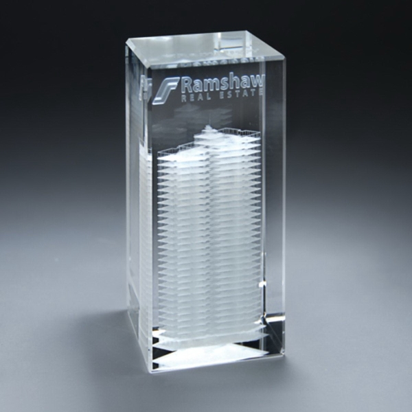 3D Etched Crystal Tower Award - Small