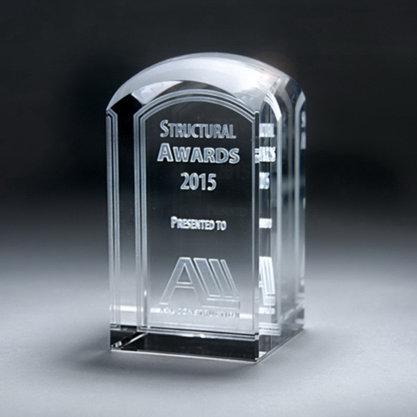 3D Etched Crystal Domed Tower Award - Small