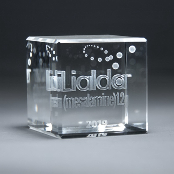 3D Etched Crystal Cube Award - Medium