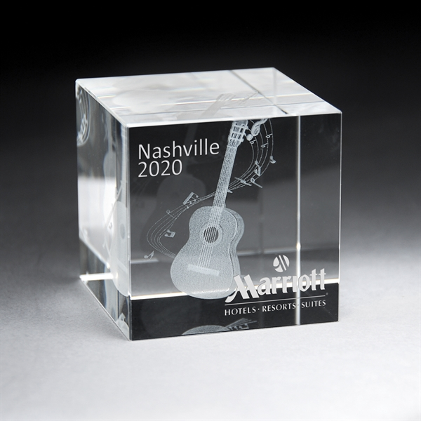 3D Etched Crystal Cube Award - Large