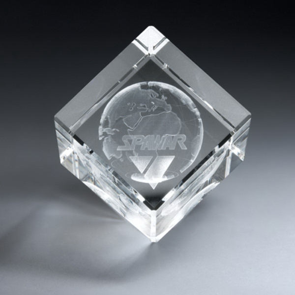 3D Etched Crystal Diamond Cube Award - Small