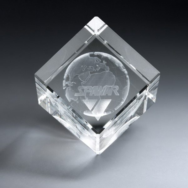 3D Etched Crystal Diamond Cube Award - Medium