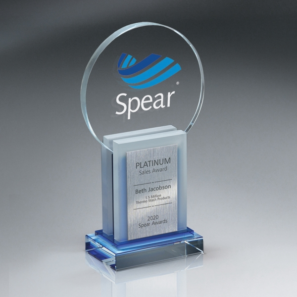Crystal Dimensional Award with Digi-Color Imprint and Plate