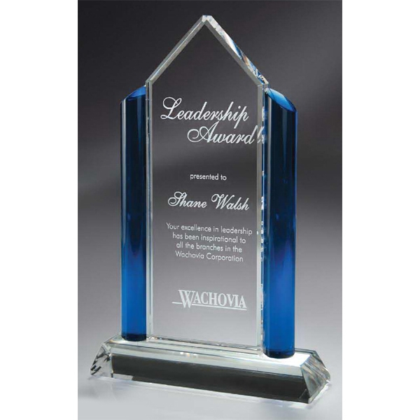 Optic Crystal Award with Blue Glass Pillars - Large