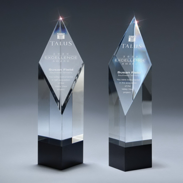 Clear and Black Crystal Diamond-Front Tower Award
