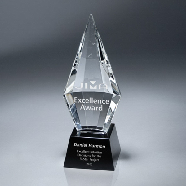 Faceted Crystal Spearhead Award on Black Base