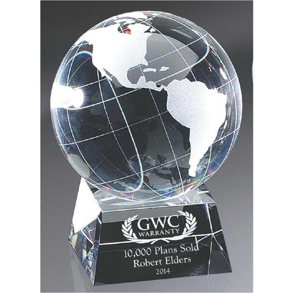 Optic Crystal Globe on Base - Medium