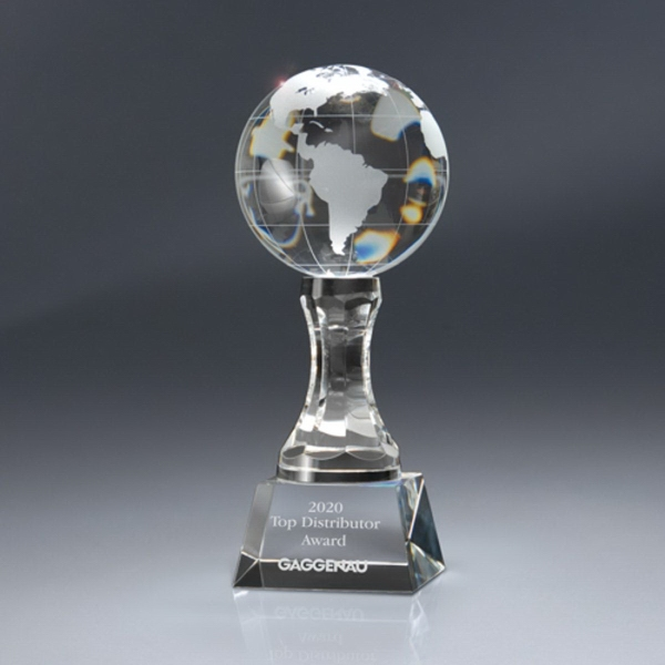 Optic Crystal Globe Award On Pedestal With Base - Large