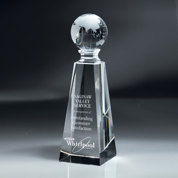 Optic Crystal Pillar Column with Globe Award