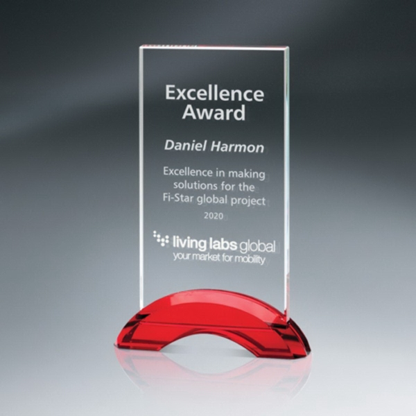 Optic Crystal Tablet Award on Red Double-Arc Base
