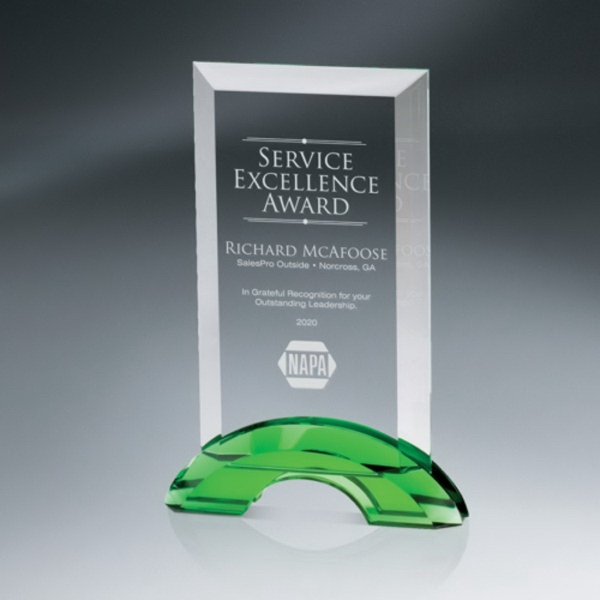 Beveled Optic Crystal Tablet  Award on Green Double-Arc Base