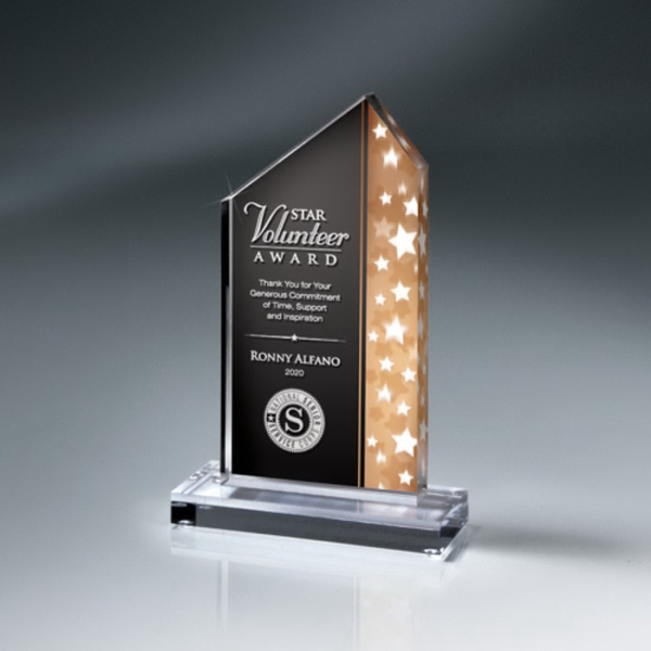 Star Stream Lucite Award on Clear Base