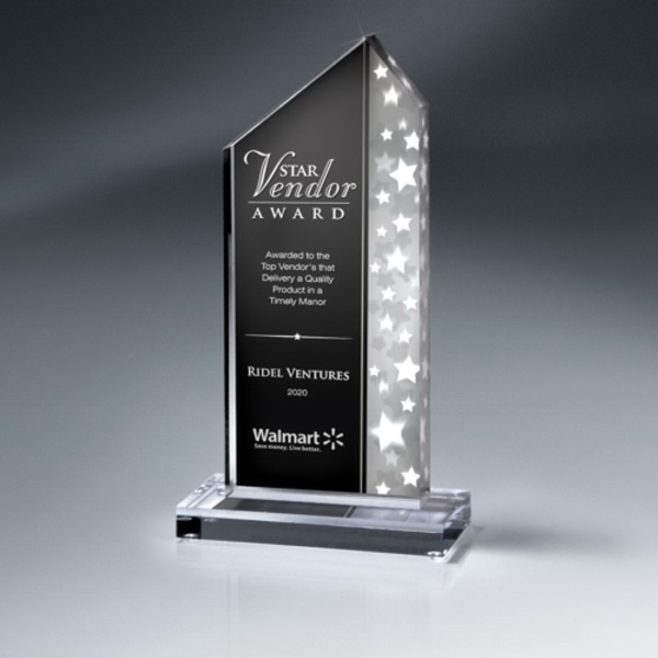 Silver Star Stream Lucite Award on Clear Base - Medium