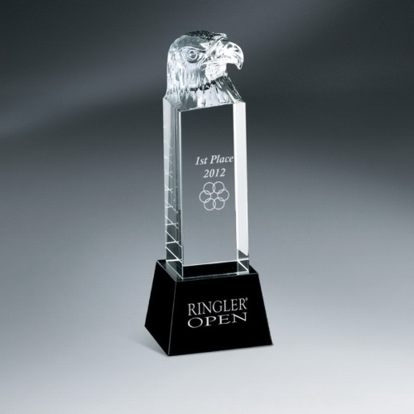 Crystal Eagle Head Pillar Award on Black Glass Base