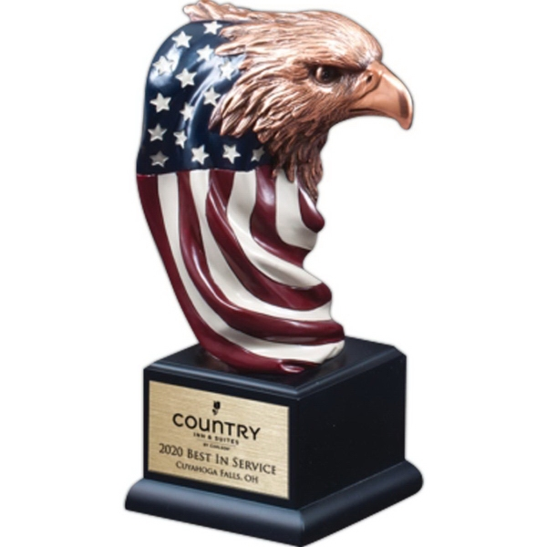 Bronze Finish Eagle Head with Painted Flag on Black Base
