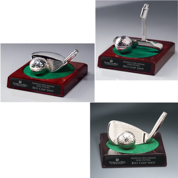 Bright Silver Golf Club and Ball on Green Felt-Topped Base