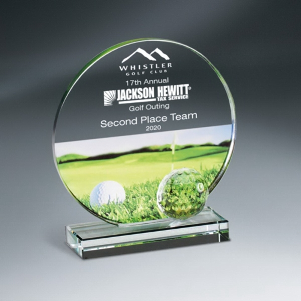 Golf Imprint Glass Circle on Clear Base - Small