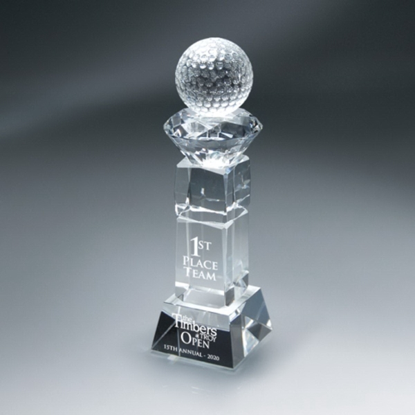Crystal Golf Ball and Diamond on Pillar W/Base - Medium