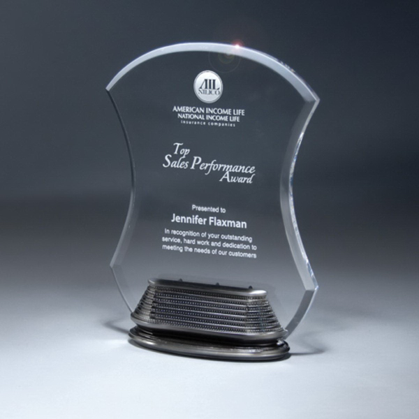 Clear Lucite Hourglass Award on Unique Resin Linear Base