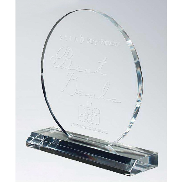 Large Circle Lucite Award on Clear Base