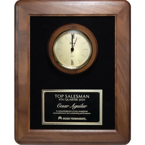Rounded Walnut Frame w/Gold Bezel Clock and Plate