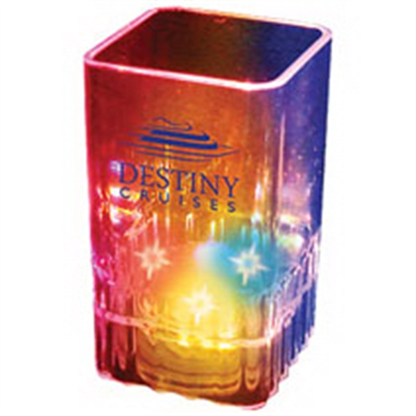 2 oz. Blinking Square Plastic Shot Glass