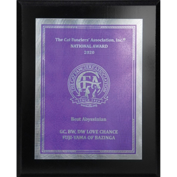 Ebony Finish Plaque with Silver and Purple Sunray Plate