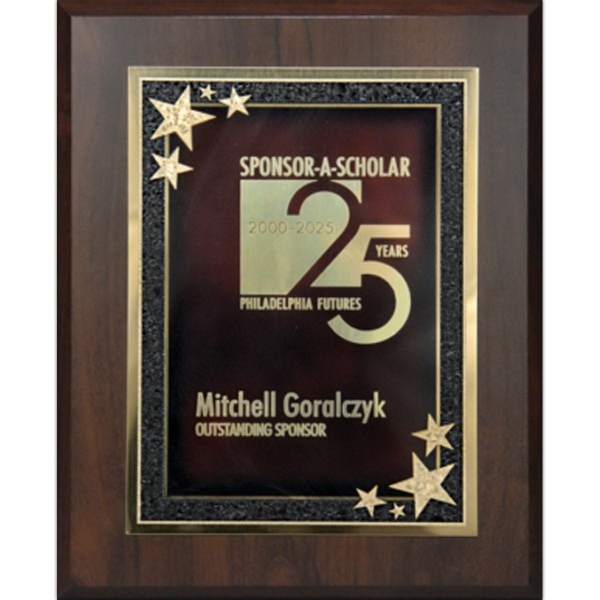 Walnut Finish Plaque with Gold and Red Starburst Plate