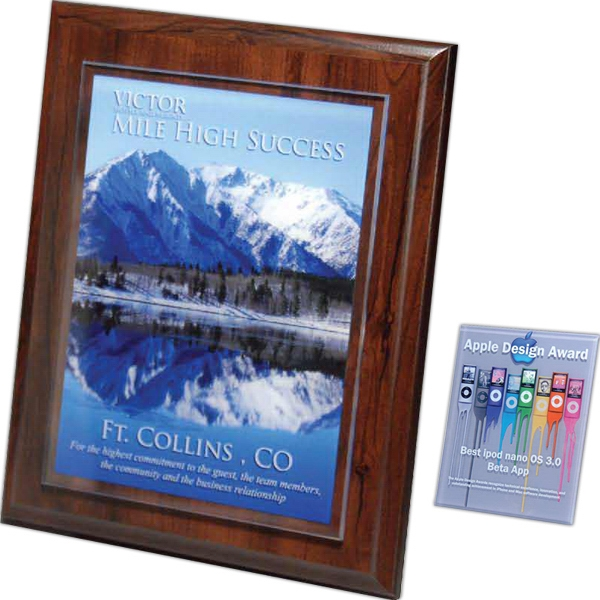 "Digi-Color 7"" x 10"" x 1/8"" Lucite on Walnut Finish Plaque"