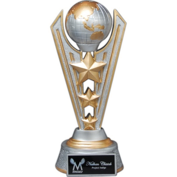 Silver & Gold World Victory Resin Trophy with Lasered Plate