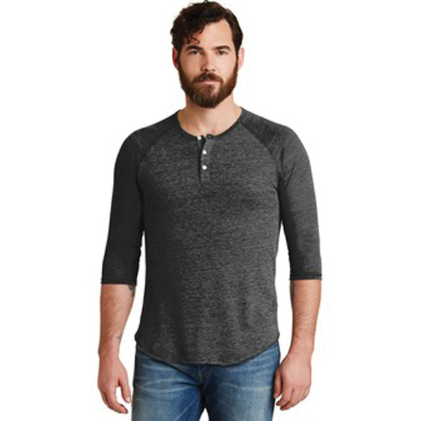 Alternative Eco-Jersey 3/4-Sleeve Raglan Henley.