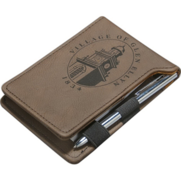 Leatherette Lasered Notepad with Pen
