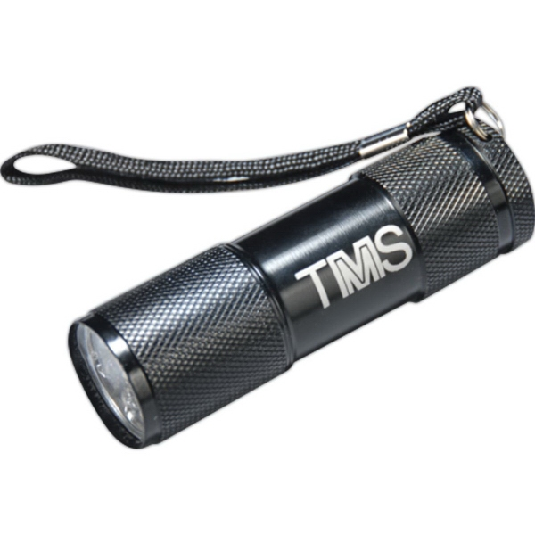 Black 9 LED Lasered Flashlight with Strap