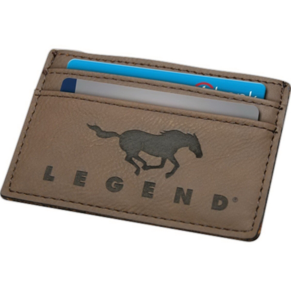 Leatherette Lasered Credit Card Holder with Money Clip