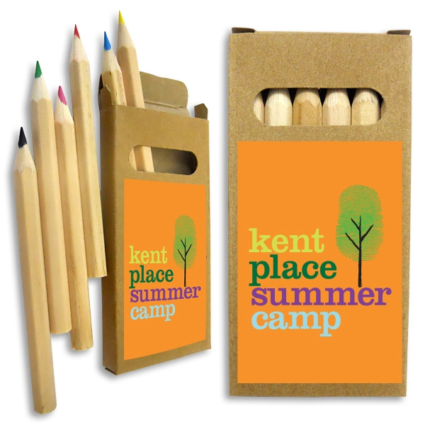Colored pencils in recycled kraft box with multi color print
