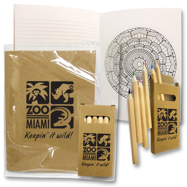 Adult coloring book notebook Kit with Color Pencil Set