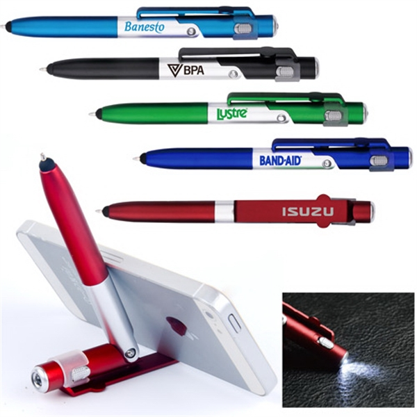 4 In 1 Smartphone Stand LED Light Ballpoint Pen & Stylus