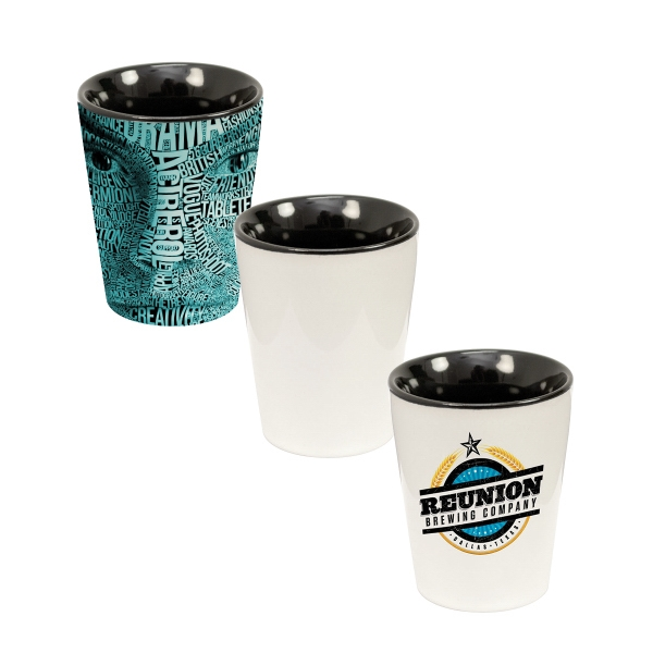 1.5 oz. Two-Tone Ceramic Shot Glass - Full Bleed