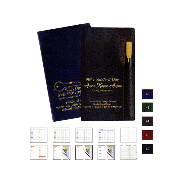Executive Vinyl Cover Pocket Planner with Pen